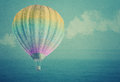 Balloon Over Watercolor Sea Landscape Paper Grunge Background Stock Images - 33360634