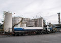 Truck And Storage Tanks In Oil Refinery Royalty Free Stock Image - 33363976