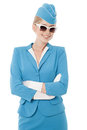 Stewardess In Blue Uniform And Vintage Sunglass Royalty Free Stock Photos - 33369068