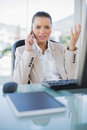Offended Sophisticated Businesswoman On The Phone Stock Images - 33385424