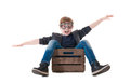 Young Boy Pilot Flying A Wood Box Stock Image - 33394281