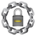 Closed Padlock In Strong Steel Circle Chain  Royalty Free Stock Photos - 33411588