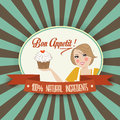 Retro Wife Illustration With Bon Appetit Message Royalty Free Stock Images - 33413139