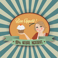 Retro Wife Illustration With Bon Appetit Message Royalty Free Stock Photography - 33413147