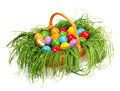 Colorful Easter Eggs In Basket Stock Photo - 33413700