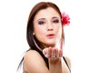 Portrait Of Summer Girl Blowing A Kiss. Flirty Royalty Free Stock Photos - 33424078