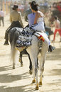 SEVILLE, SPAIN, Man And Woman Riding The Horse Royalty Free Stock Photography - 33424377