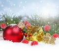 Christmas Border With Red Ornament And Gift Box Royalty Free Stock Images - 33427329