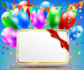 Postcard With A Bow And Balloons Stock Photo - 33429800