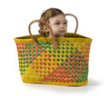 Baby In Basket Royalty Free Stock Photo - 33430845