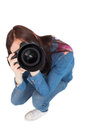 High Angle View Of Casual Young Photographer Taking Picture Of C Stock Photography - 33435392