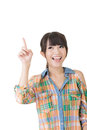 Young Pretty Asian Woman Pointing Up Stock Image - 33435661