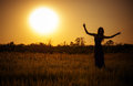 Silhouette Of Dancing Girl Against The Sunset Sky Royalty Free Stock Photography - 33438047