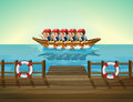 A Boat With Men Royalty Free Stock Photography - 33449357