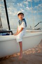 Portrait Of Young Sailor Near Yacht Royalty Free Stock Photography - 33453117