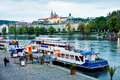 Boat Moored To The Bank Of The River Vltava In Prague. Royalty Free Stock Photo - 33454075