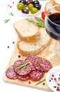 Antipasto - Salami, Bread, Olives And Glass Of Red Wine Isolated Royalty Free Stock Photo - 33470545