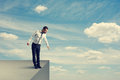 Man Standing Over The Precipice Stock Image - 33471121