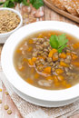 Plate Of Vegetable Soup With Lentils, Top View Stock Photo - 33471280