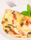 Omelet With Mushrooms And Salami Stock Photos - 33476283