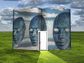 Book With Science Fiction Scene And Doorway Of Light Stock Photography - 33491232