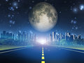 Highway To City And Moon Stock Image - 33491241