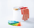 Paintbrush, Paint Pot, Gloves And Pantone Samplers Stock Image - 33506141