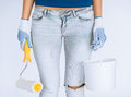 Woman With Roller And Paint Pot Stock Photo - 33506520
