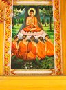 Wall Painting Of Buddha And Monks In Nirvana, Laos Royalty Free Stock Photos - 33514388
