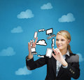 Concentrated Businesswoman Rotating A Cycle Representation Stock Photos - 33525953