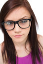 Close Up On Pretty Brunette With Glasses Posing Royalty Free Stock Image - 33527626