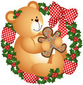 Christmas Teddy Bear With Cookie In Crown Royalty Free Stock Photography - 33532957