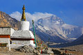 Mt. Everest And Flannelette Temple Stock Photo - 33548280