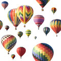 Colorful Hot-air Balloons Floating Against White Royalty Free Stock Photos - 33557408