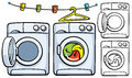 Clothesline With Clothespins And Washer Machine Stock Photography - 33560852