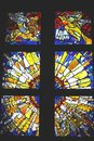Religious Stained Glass With Angels And Sunbeams, Saint Pauls Cathedral, Melbourne, Australia  Royalty Free Stock Photography - 33571807