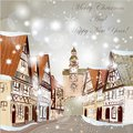 Christmas Scene With Houses In Snow Stock Photo - 33599670