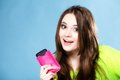 Happy Girl With Mobile Phone In Pink Cover Royalty Free Stock Photos - 33610778