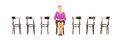 Mature Smiling Woman Sitting On A Wooden Chair And Waiting For J Stock Photo - 33622990