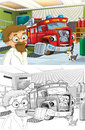 Cartoon Styled Machine Coloring Page Stock Photos - 33628913