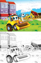 Cartoon Styled Machine Coloring Page Stock Images - 33628994