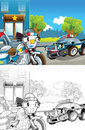 Cartoon Styled Machine Coloring Page Stock Photography - 33629042