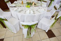 Wedding Table Set With Decoration For Fine Dinning Or Another Catered Event Stock Images - 33649394