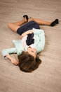 Crime Scene Simulation. Victim Lying On The Floor Royalty Free Stock Photo - 33652745