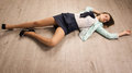 Crime Scene Simulation. Victim Lying On The Floor Royalty Free Stock Photography - 33652757