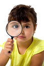 Little Girl With Magnifier Royalty Free Stock Image - 33717586