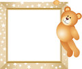 Teddy Bear Hanging In The Frame Royalty Free Stock Photos - 33722528
