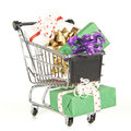 Shopping Cart Filled With Christmas Gifts Stock Image - 33728711