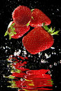 Fresh Strawberry In Water Stock Image - 33731181