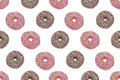 Seamless Pattern OfPink And Chocolate Glazed Donuts Royalty Free Stock Photo - 33744785